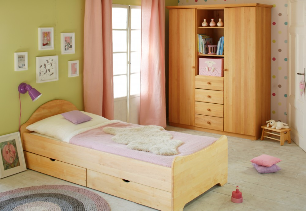 bett 90x200 cm kinderbett jugendbett massivholz erle holz. Black Bedroom Furniture Sets. Home Design Ideas