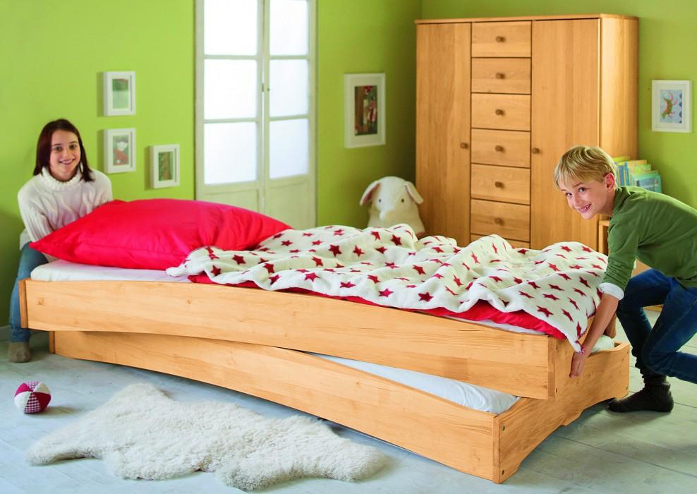 bett kinderbett jugendbett stapelbett 90x200 cm stapelbar massivholz erle neu ebay. Black Bedroom Furniture Sets. Home Design Ideas