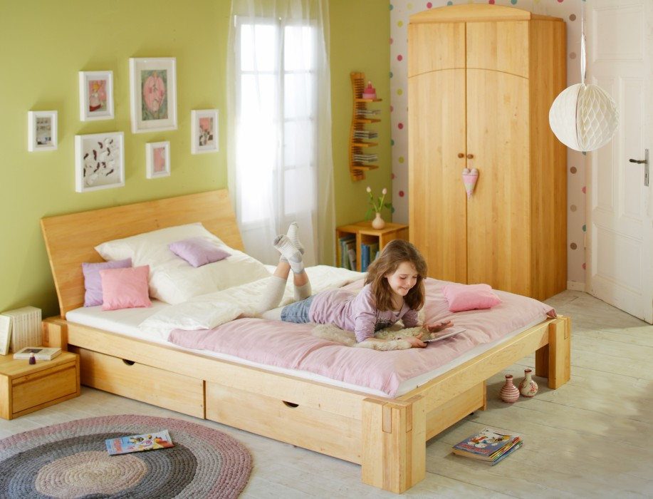 biokinder spar set dario bett mit r ckenlehne 140x200 cm erle. Black Bedroom Furniture Sets. Home Design Ideas