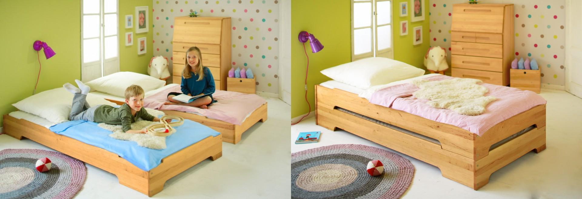 biokinder 2er set kai stapelbett mit roll lattenroste 90x200 cm erle. Black Bedroom Furniture Sets. Home Design Ideas