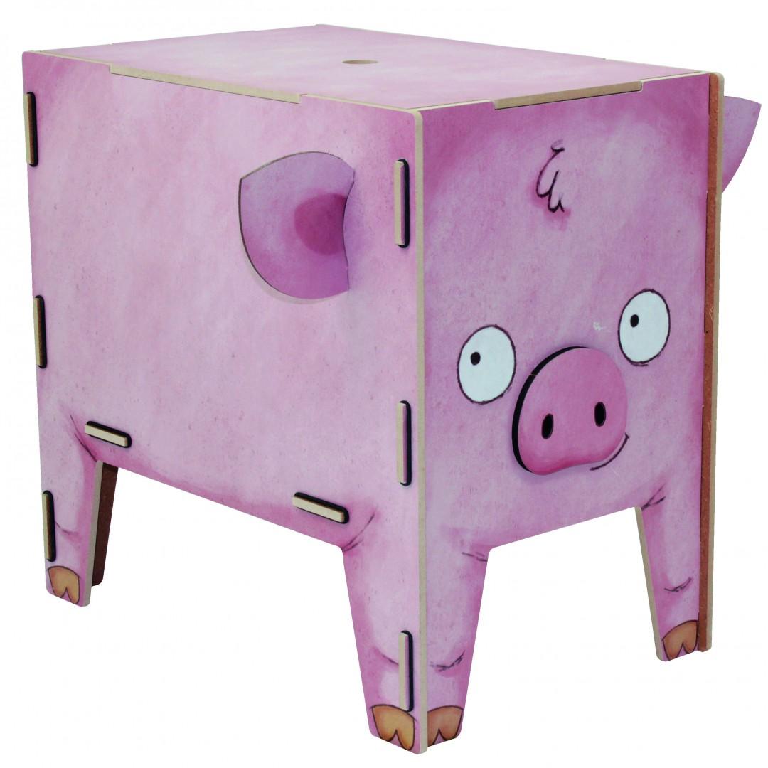 biokinder kinderhocker schweinchen werkhaus. Black Bedroom Furniture Sets. Home Design Ideas
