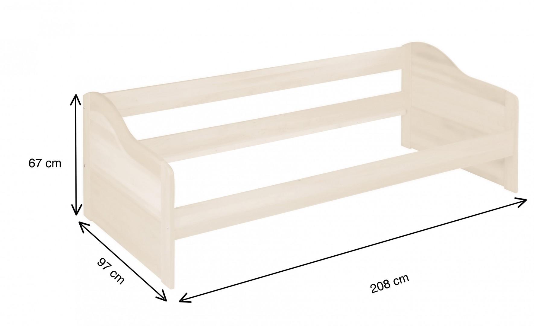 Biokinder nico funktionsbett schlafsofa 90x200 cm kiefer for Schlafsofa 90 cm
