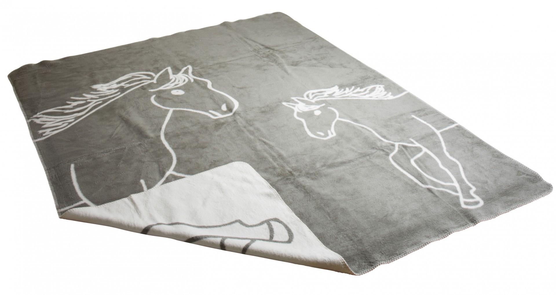 decke pferd grau richter 150x200 cm kuscheldecke pferdedecke 100 bio baumwolle ebay. Black Bedroom Furniture Sets. Home Design Ideas