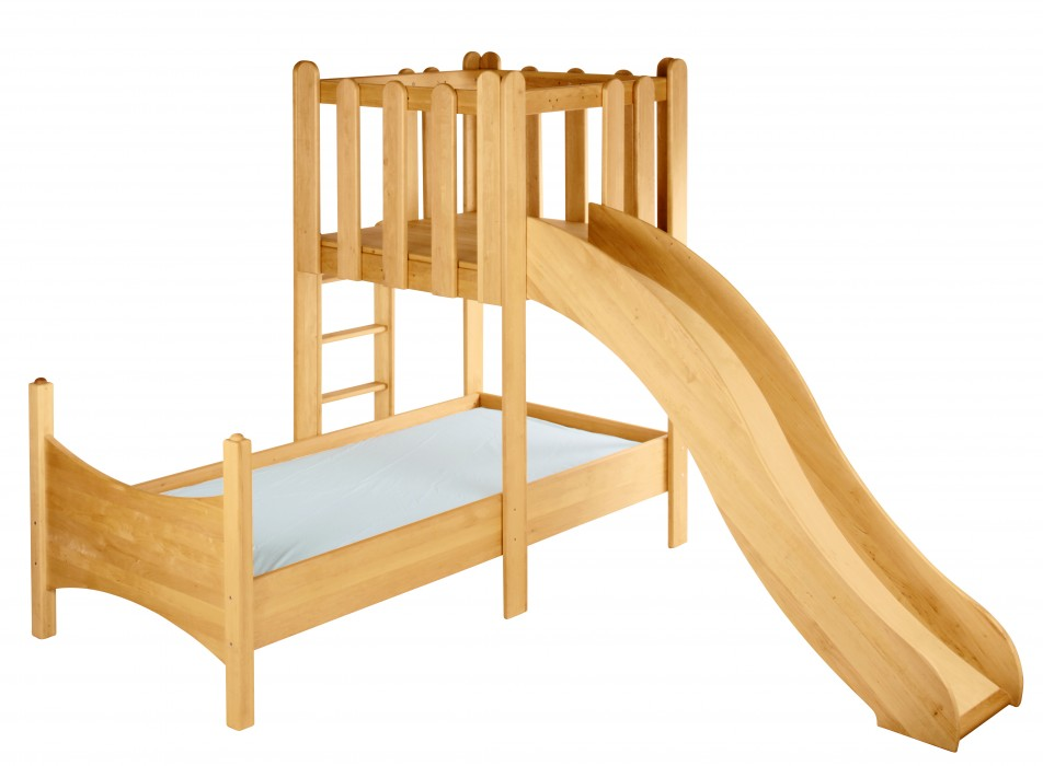 biokinder spar set noah kinderbett mit spielturm und rutsche erle. Black Bedroom Furniture Sets. Home Design Ideas