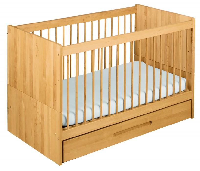 biokinder spar set lina babybett mit bettkasten 70x140 cm erle. Black Bedroom Furniture Sets. Home Design Ideas