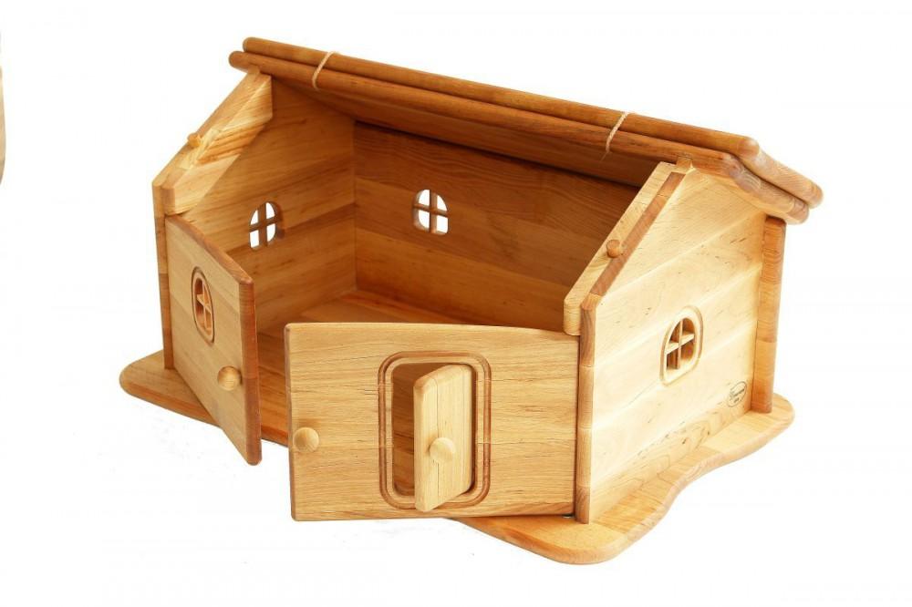 biokinder bauernhof haus mit aufklappbarem dach aus massivem erlenholz. Black Bedroom Furniture Sets. Home Design Ideas